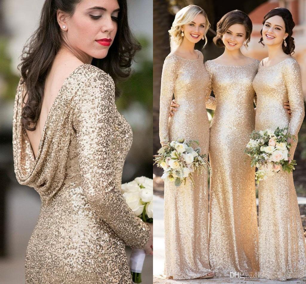 Sparkly الشمبانيا الترتر فساتين وصيفة الشرف بأكمام طويلة سكوب خادمة الشرف ثوب الطابق طول الزفاف أثواب الزفاف ارتداء الرسمي