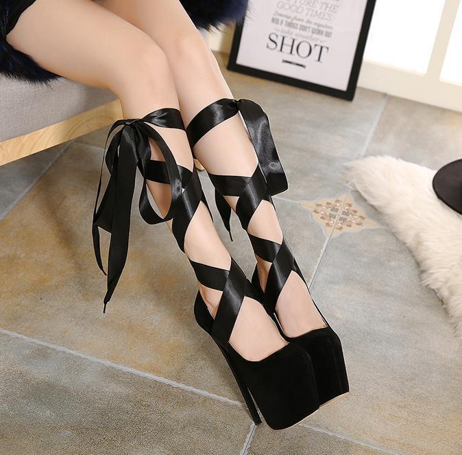 Sexy women shoes 19cm stiletto heel lace-up wedding pumps 7cm platform red black banquet single shoes size 35-40