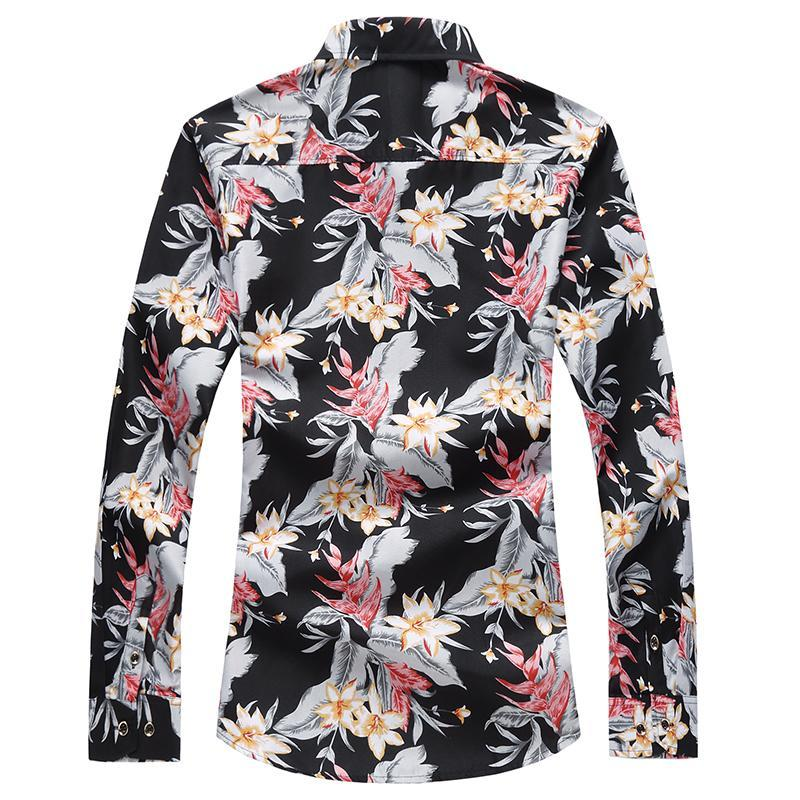 Uzun kollu Bluz Erkekler Çiçek Hawaii Gömlek Erkek Gömlekler Çiçek Casual Artı boyutu Siyah Mavi