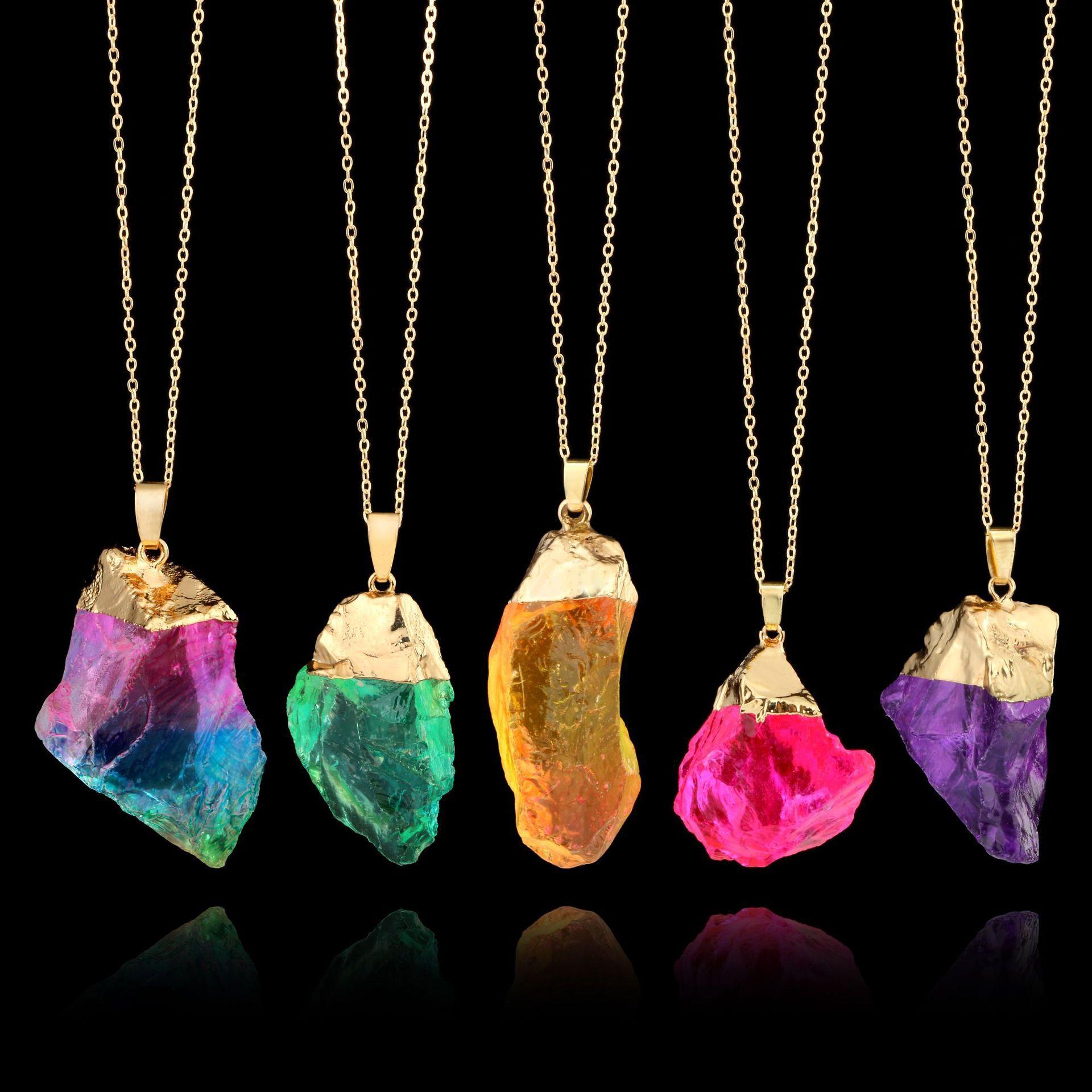 Collares de cristal de cuarzo irregulares para mujeres curativas Druzy piedras preciosas arco iris piedra natural colgante cadenas de oro regalo de joyería de moda