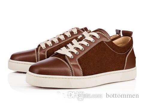 Мода Rantus Orlato Мужская Flats Low Top Sneakers Men Red Bottom Shoes, замша Шипы обувь Полуботинки повседневные кроссовки