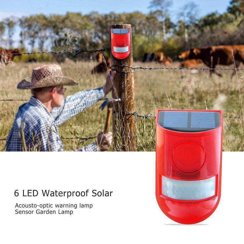 Водонепроницаемая солнечная сигнализация Light Sound Security Siren Light 6 LED Alarm Предупреждение Безопасность Безопасность Анти-кража Мигающий Световой Датчик Садовая лампа