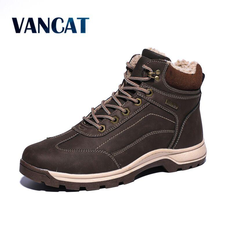 Winter Waterproof Men's Boots High-top Leather Snow Boots Warm Fur Ankle Outdoor Winter Sneakers Big Size 39-47
