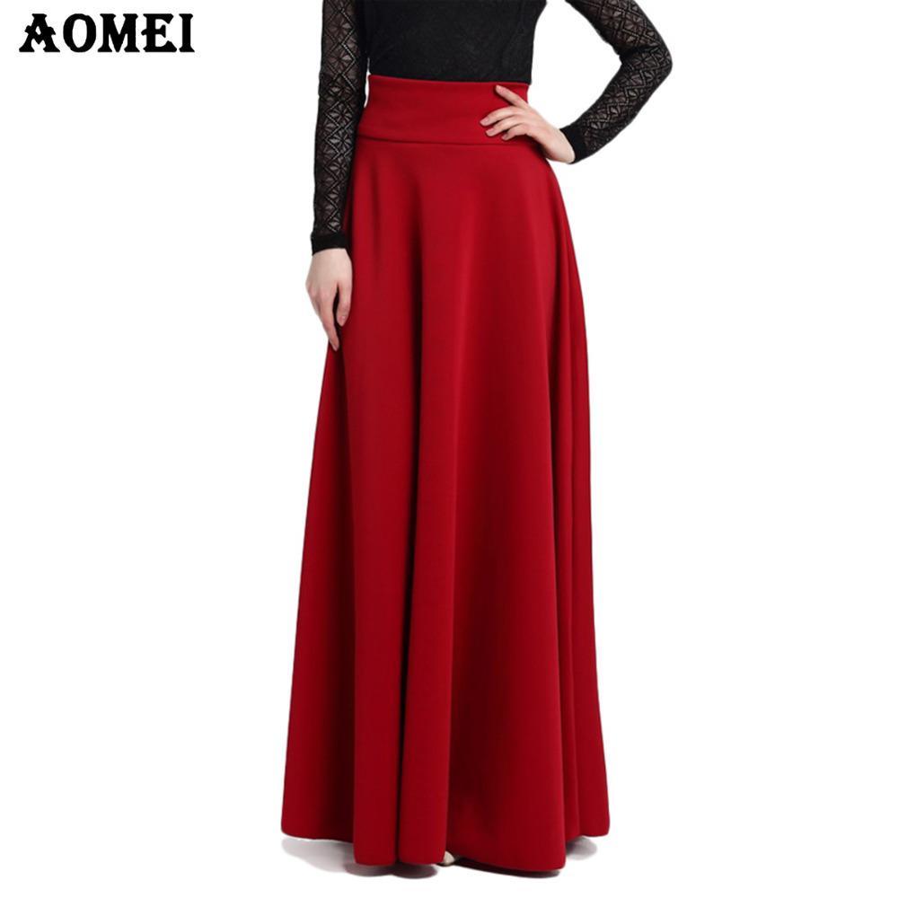 S M L 5XL новая высокая талия складка элегантная юбка вино красный черный сплошной цвет длинные юбки женщины Faldas Saia 5XL плюс размер дамы Jupe Y200326