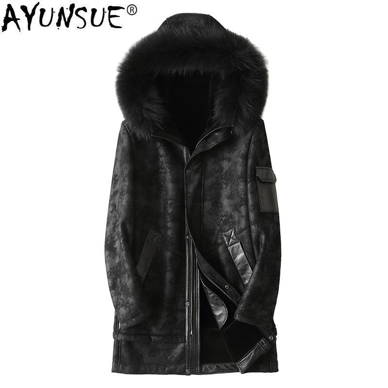 AYUNSUE Winter Genuine Leather Jacket Men Sheepskin Coat Hooded Wool Liner Raccoon Fur Collar Chaqueta Cuero Hombre KJ1400