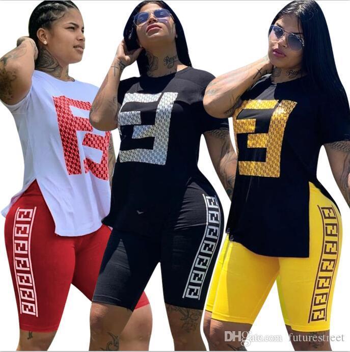 Mujeres Champions impresión de la letra del equipo del verano de manga corta camiseta + Sobre la rodilla vestido de la falda del juego de 2 piezas Marca chándal Sportsuit S-2XL