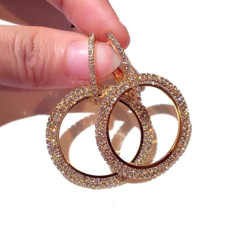 Fashion-2018 neue Art und Weise Statement voller Rhinestone-großer Kreis-Ohrringe für Frauen, Luxus, Glänzend Kristall Oval Lange Pendientes S914