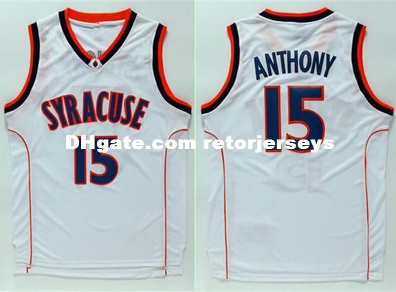 2588bbb3efa Carmelo Anthony  15 Syracuse Orangemen College Men Basketball Jersey XS-5XL  vest Jerseys NCAA