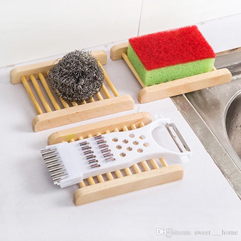 Natürliche Bambustabletts Großhandel Seifenschale aus Holz Holz Seifen-Behälter-Halter-Zahnstangen-Platte-Kasten-Behälter für Bad Dusche Badezimmer 120pcs QC