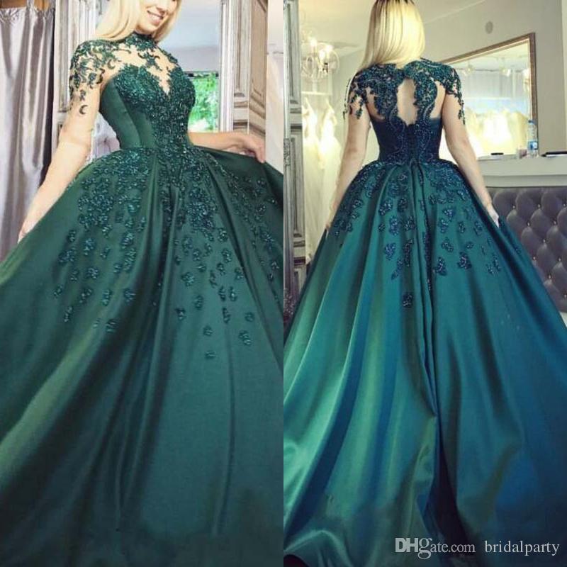Темно-зеленые вечерние платья с длинными рукавами и длинными рукавами. Цветочные аппликации.
