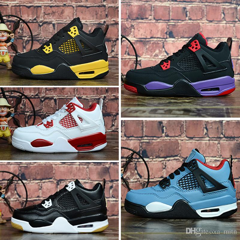 Nike Air Jordan 4 Ucuz 4 s basketbol ayakkabıları Saf beyaz para Mavi Denim Kot çocuklar j4 uçuşlar jumpman iv sneakers tenis