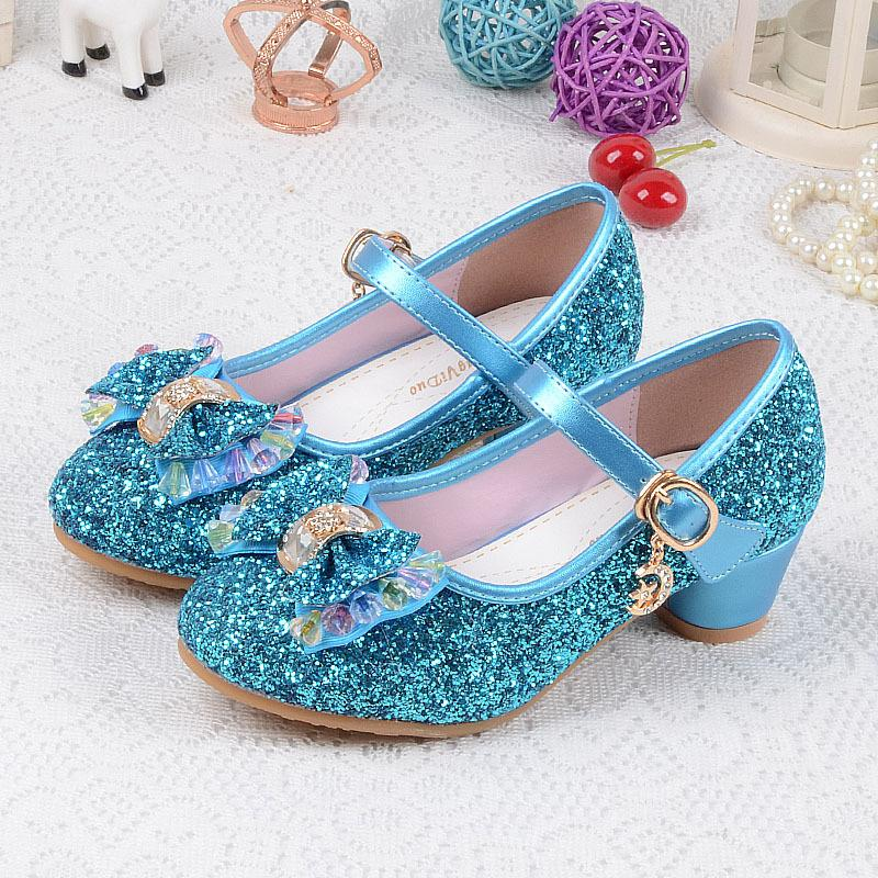 Çocuk Sequins Ayakkabı Enfants 2019 Bebek Kız Düğün Prenses Çocuklar Için yüksek Topuklu Elbise Parti Ayakkabı Kız Pembe Mavi Altın J190508