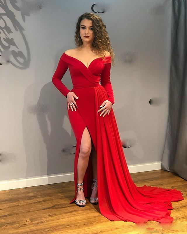 Элегантная красная сторона сплит вечерние вечерние платья с плеча длинные рукава выпускных платьев Формальное платье Особое время