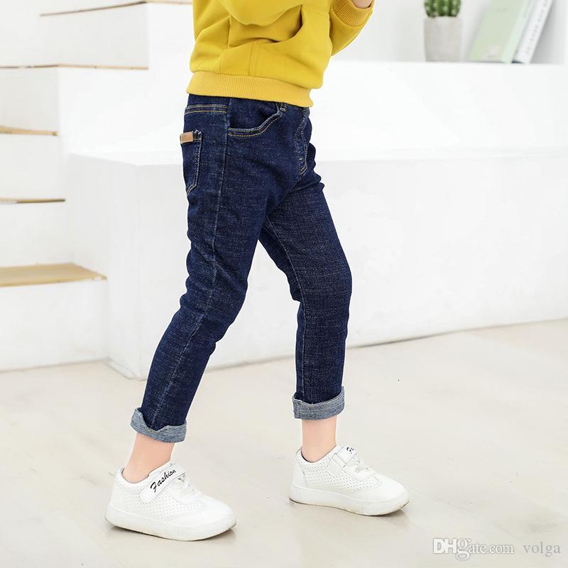 عارضة طفل بنين جينز للأطفال ملابس الخريف الأطفال سروال جينز الطفل مرونة الخصر بنطلون جان الشقي