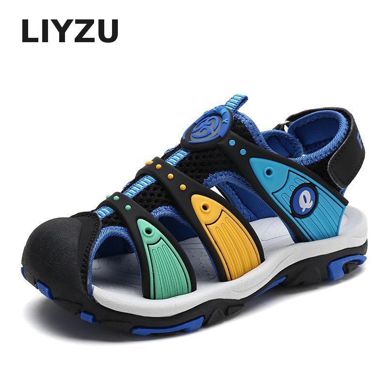 تو الصيف العلامة التجارية الجديدة شاطئ المطاط الصنادل للأطفال عالية الجودة طفل صندل مقفلة أزياء الأطفال مصمم أحذية الرياضة للبنين