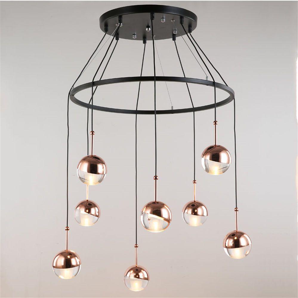 postmodern Roségold Glaskugel Pendelleuchten DIY Design Wendeltreppe führte Lampe Halle hängen Raumaufhängung Koryphäe im Restaurant zu essen