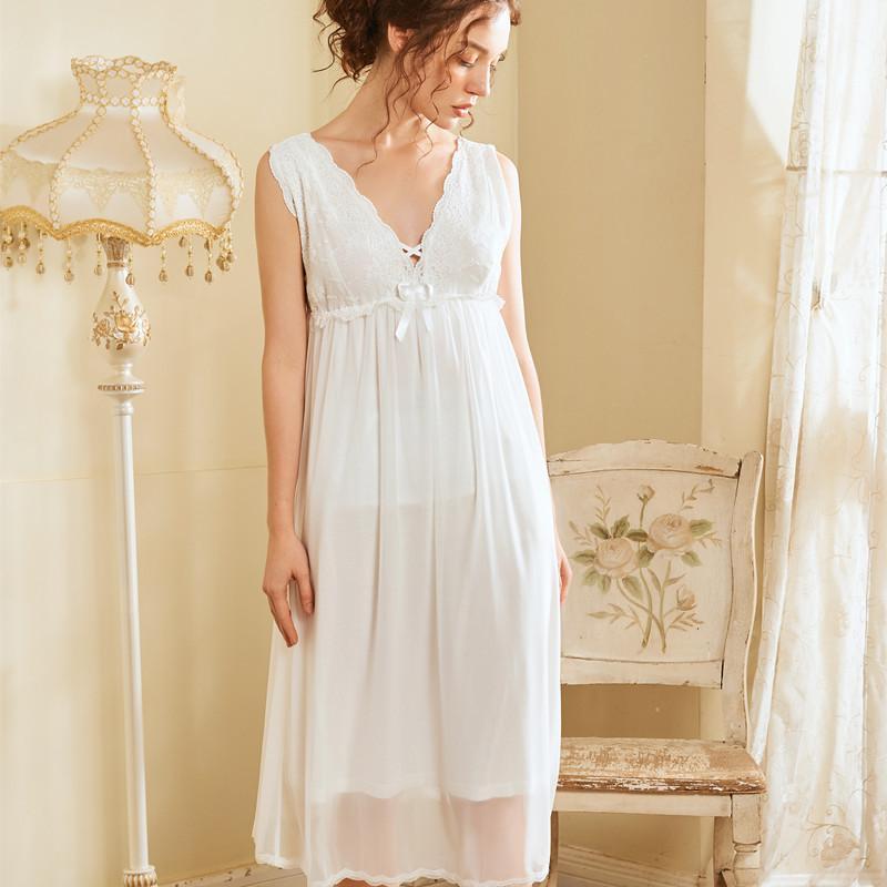 2020 neuer Sommer Ärmel Vintage sexy Nachtwäsche Modal-reizvolle Spitze Beleg Nachthemd Frauen Nachthemd Spitze Schlafenkleid Nachtwäsche