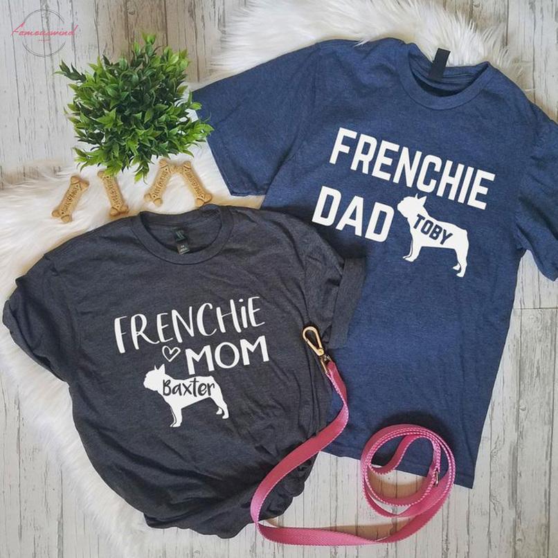 Anpassen Frauk 2019 beiläufige T-Shirt Femme Cotton T-Shirt Französisch Bulldog Hundevati Drucken Paar Hemden Chemise