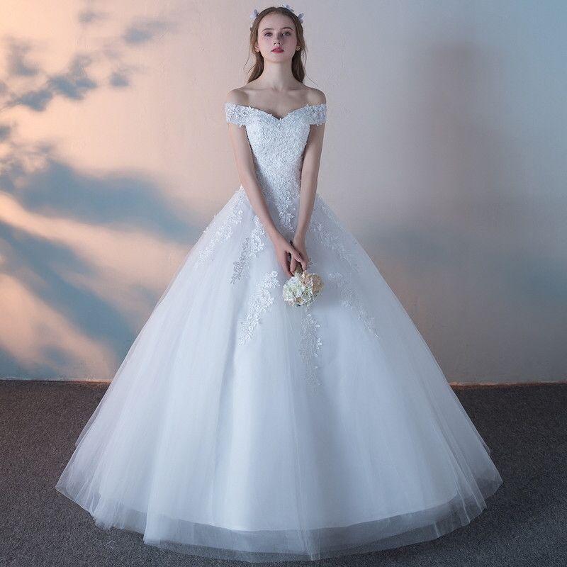 Abiti da sposa Off spalla Tulle Ball Gown con applicazioni di pizzo Bling maniche corte abiti da sposa bianco avorio