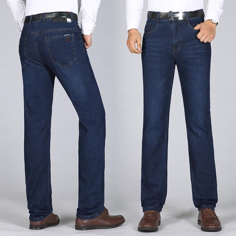 Frühlings-Jeans Herren-Jeans-Hose-beiläufigen Herbst und Winter gerade geschnittener Business-lose-Fit mittleres Alter Jeans