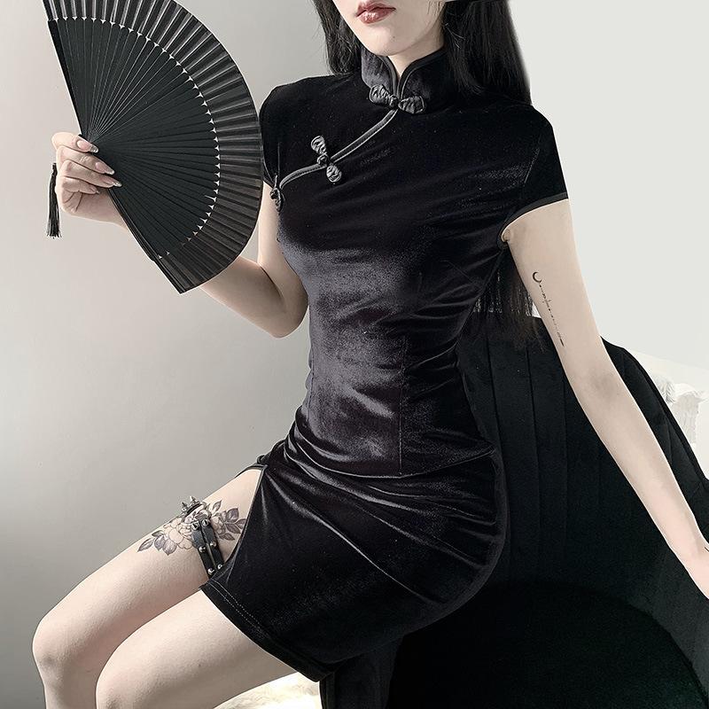 Gothic women's cheongsam chinese style skinny mini dress streetwear sexy vintage harajuku summer women clothing slim black MX200506