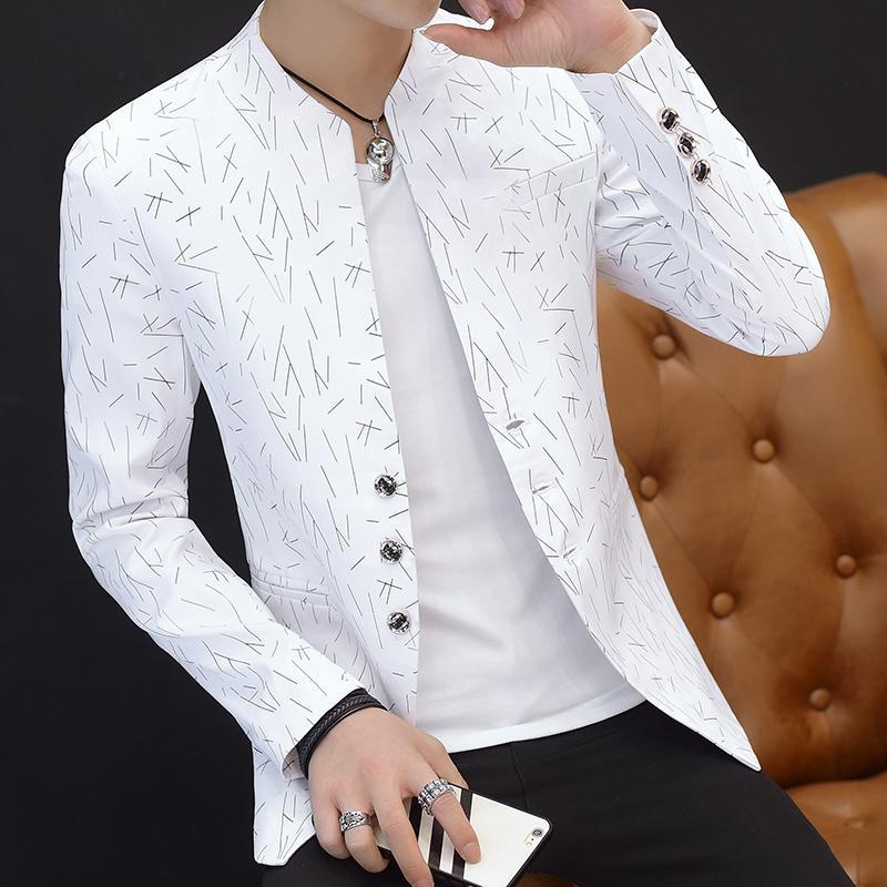 Collare casual Collare uomo Blazer all'aperto Slim fit giacca uomo manica lunga manica lunga gioventù bello tendenza sottile stampa blazer