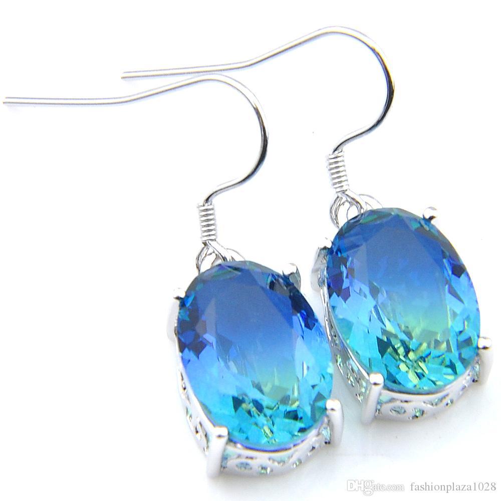 Luckyshine Ohrringe für Frauen Blue Oval zweifarbige Edelstein 925 Sterlingsilber-Ohrringe Feiertags-Geschenk-freies Verschiffen