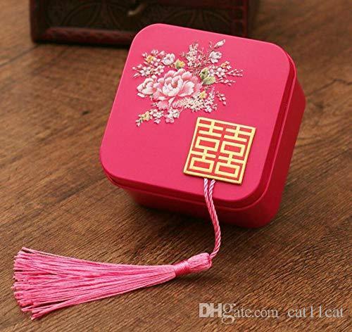 Regalo di compleanno della scatola della caramella della latta di DIY del doppio di felicità cinese della scatola di nozze di nozze per l'ospite