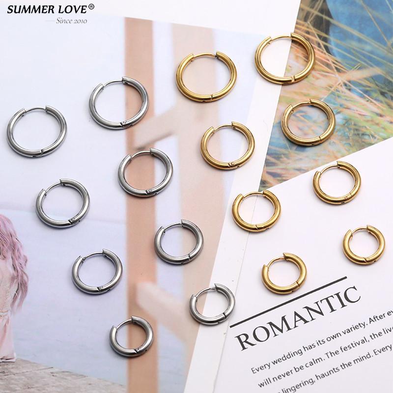 Pendientes de plata del oro Pequeños aro de joyería de las mujeres pendientes del círculo Loop Accesorios de acero inoxidable Unisex Hombre Dropshipping