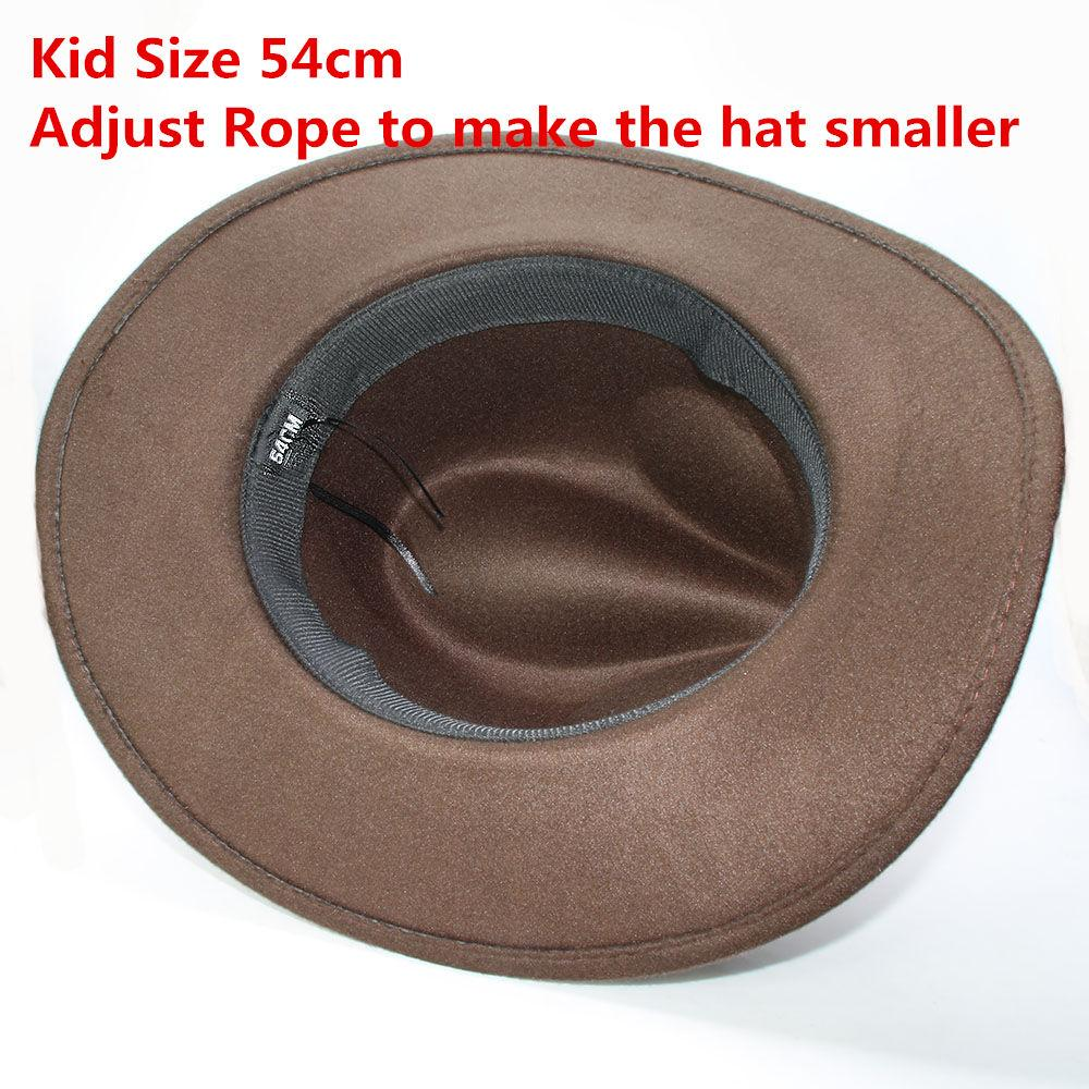 Retro Turquoise Wood Bead Braid Band Parent-child Unisex /Kid Wool Wide Brim Cowboy Western Hat Cowgirl Bowler Cap (57cm/54cm)