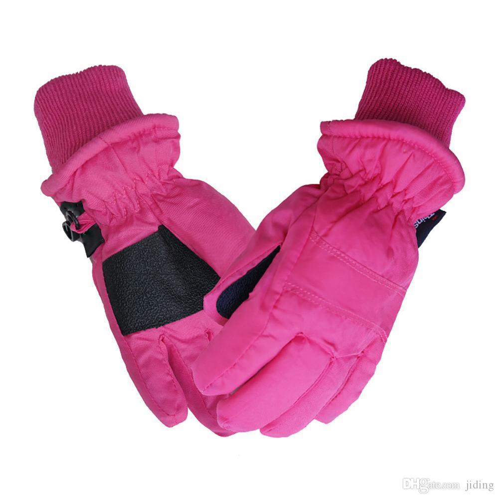 1 Çift Sürme Spor Windstopper Kayma Önleyici Unisex Çocuklar Için Sıcak Su Geçirmez Açık Kar Kış Termal Paten Kayak Eldiven