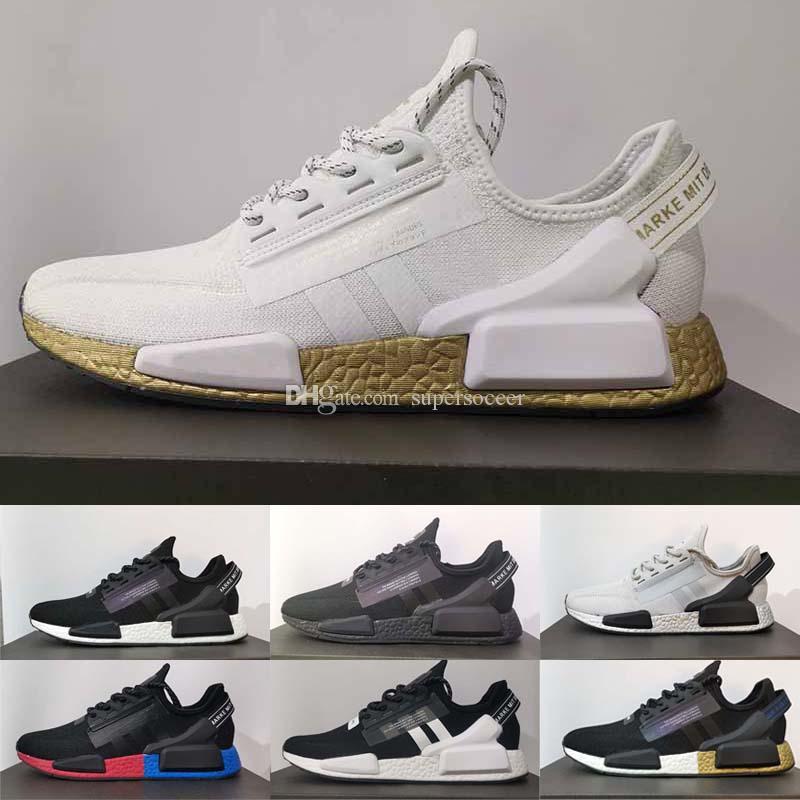 New V2 Homens Mulheres Running Shoes OG Núcleo Preto Ouro Branco respirável exterior Mens Trainers Sneakers Esportes Tamanho 36-45