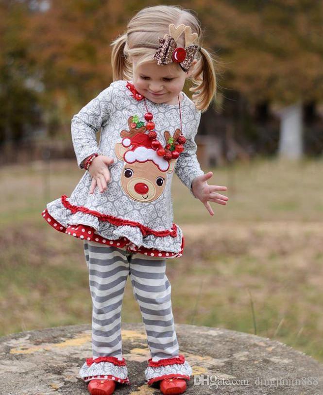 Herbst-Outfits-Kind-Mädchen zu Hause Kleidung Nachtwäsche Pyjamas Baby-Kleidung 2019 Newstyle Baby-Kleidung Sets Langarm-Tops + Streifen Leg