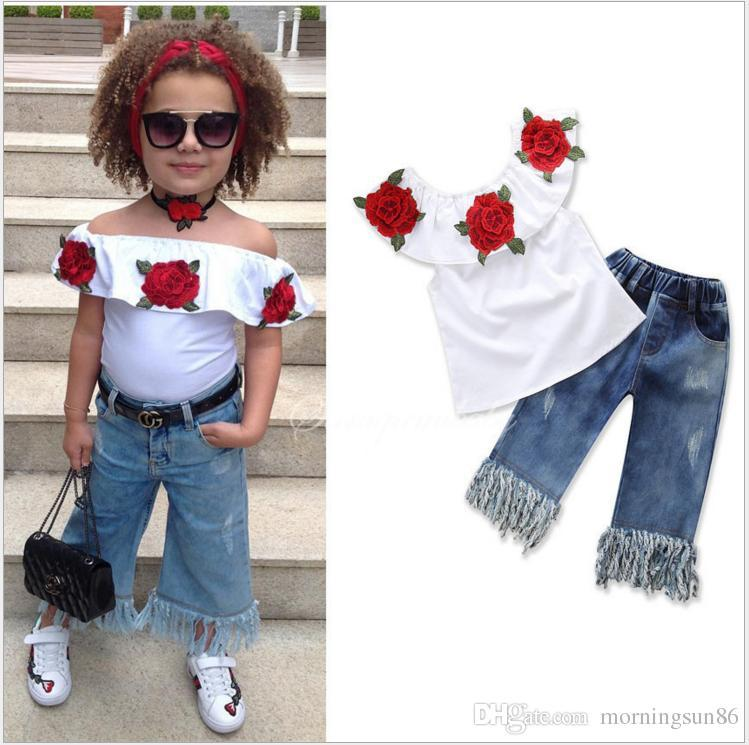 2019 ins sıcak satış Yaz patlayabilir beyaz çiçek omuz gömlek + kovboy pantolon iki parçalı