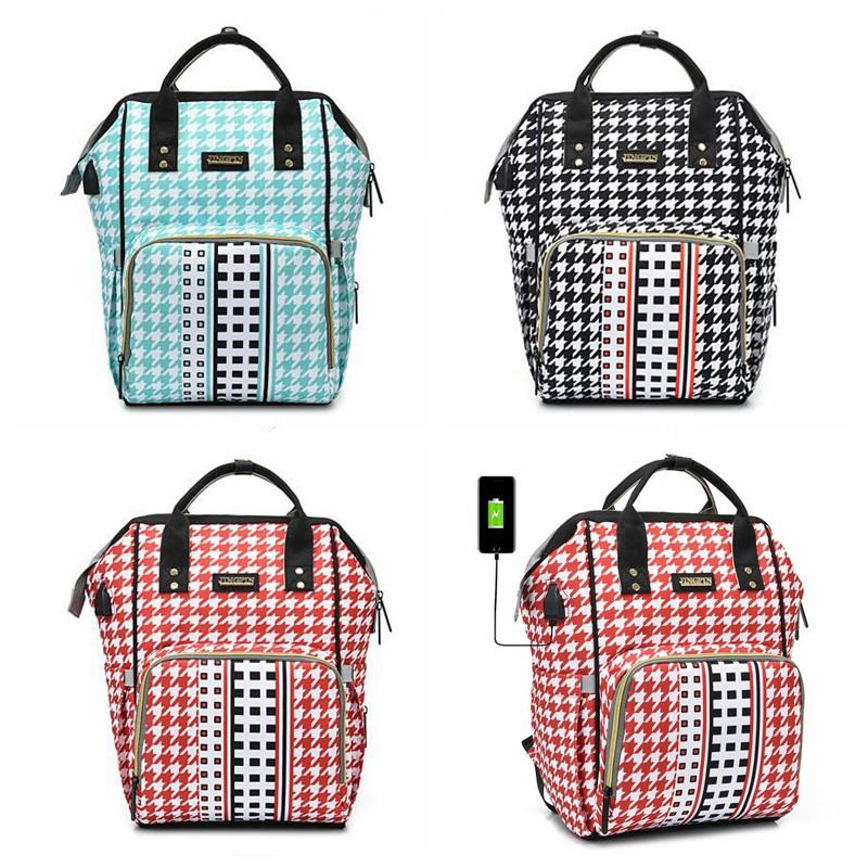 Mummy Bag Fashion USB Diaper Bag Large Capacity Mom Backpack Mummy Maternity Wet Bag Waterproof Outdoor Travel Storage Bags Free Shipping