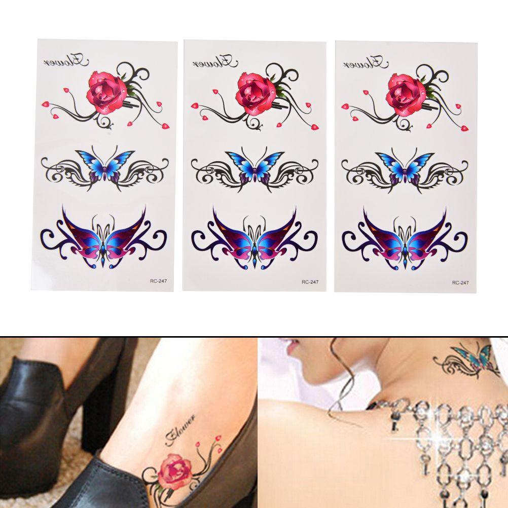 New Sexy Butterfly 3d Garland Temporary Tattoo Body Art Flash Tattoo Stickers Rose Flower Waterproof Fake Tatoo Henna Tools