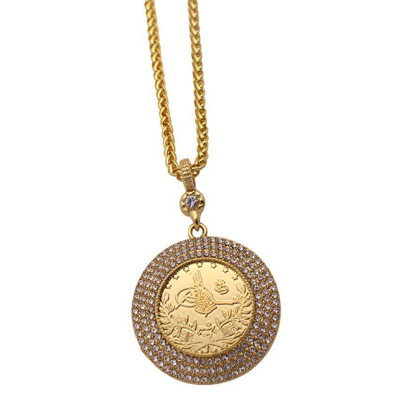 Toptan İslam müslüman Osmanlı Türk paraları takı Arap Sikke Altın Renk Türkiye Paraları kristal Kolye Kolye
