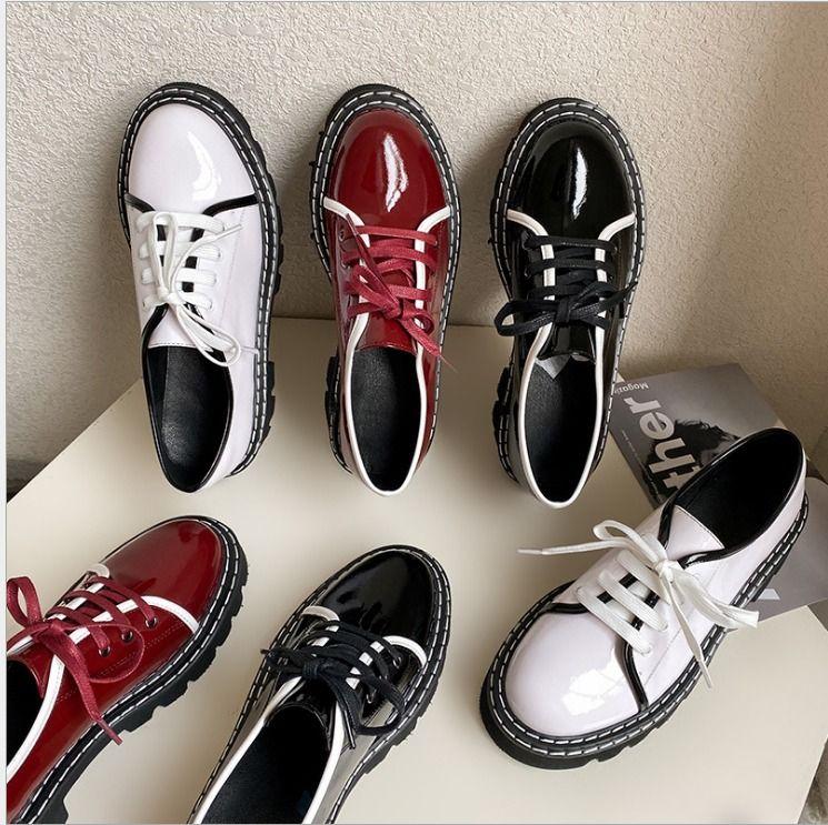 Livraison gratuite 2020 plate-forme de style Brtish nouvelles chaussures de cause à effet en cuir véritable femme printemps couleur sort haute qualité US TAILLE 4.5-7 (UE TAILLE 34-39)