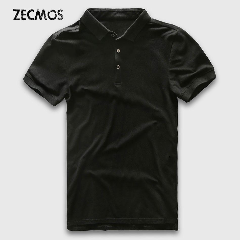 Polo de los hombres de manga corta polo camisa de los hombres ajuste delgado de lujo de algodón sólido de negocios manera ocasional jerseys de la marca del verano de polo hombre bueno