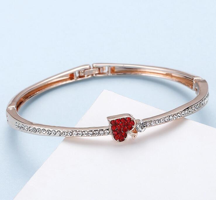 Ladies bracelet fashion simple set with diamond red heart bracelet bracelet