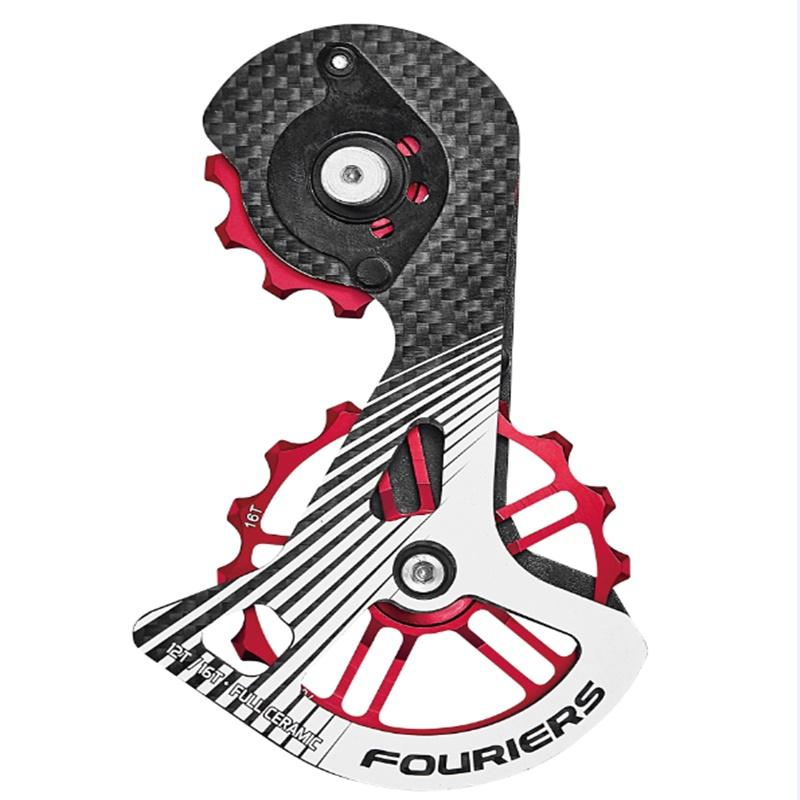 FOURIERS Road Bicycle Rear Derailleur Pulleys 12T-16T Carbon Cage full ceramic bearing jockey wheels for 9100