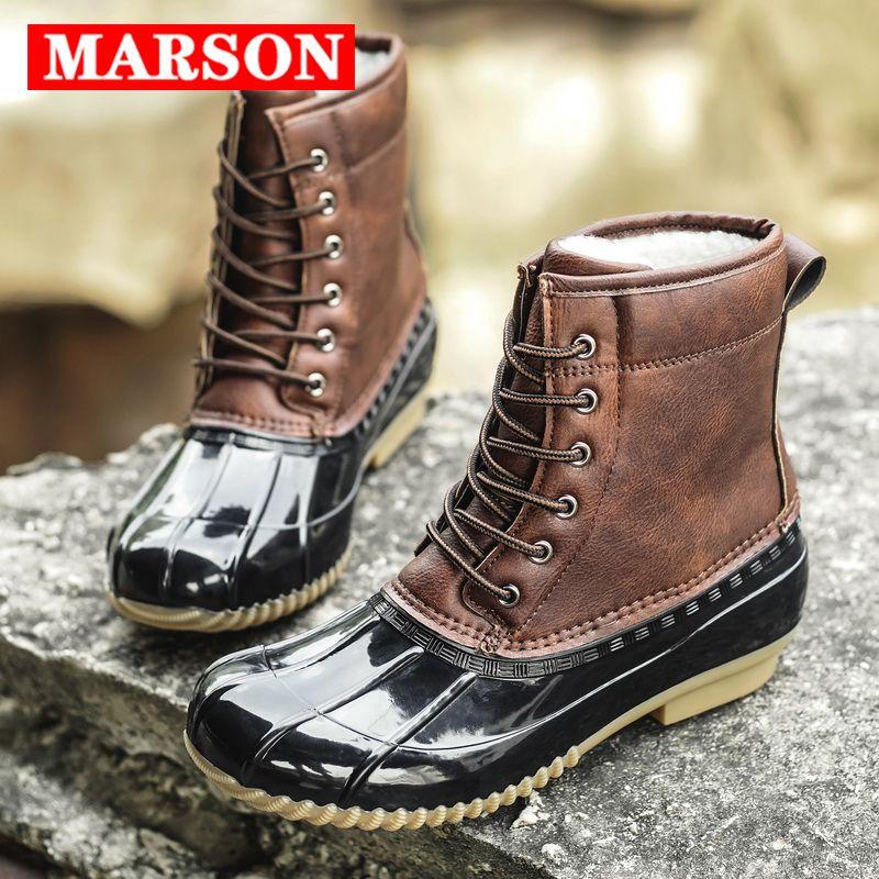 MARSON nieve de las mujeres botas de invierno Mantenga Señora caliente botas de agua pato de goma antideslizante de lluvia Zapatos Mujer Moda Mujeres Zapatos Casual