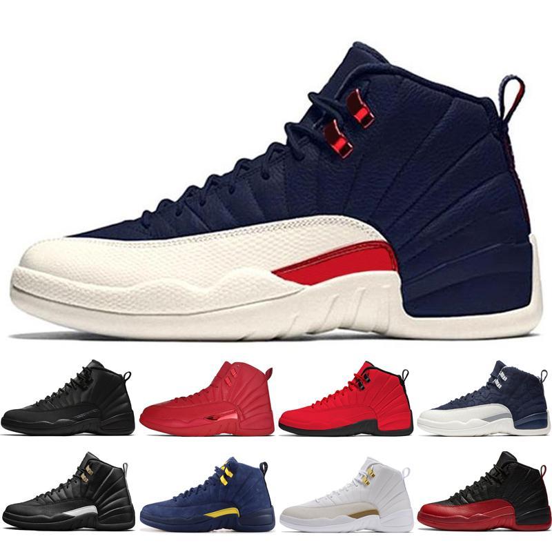 أحذية رخيصة 12S جديد للشتاء WNTR رياضة الأحمر ميشيغان الرجال لكرة السلة لعبة انفلونزا الدولية المدربين الطيران 12 رجلا رياضة حذاء رياضة # 1