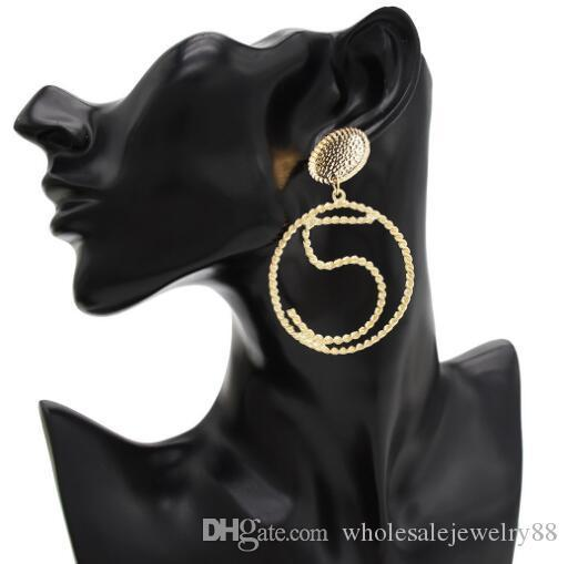 Eur Fashion Large Circle Dangle Earrings Number 5 Eardrop Gold Silver Ear Studs For Women Girl Wedding Party Jewelry Gift Accessories