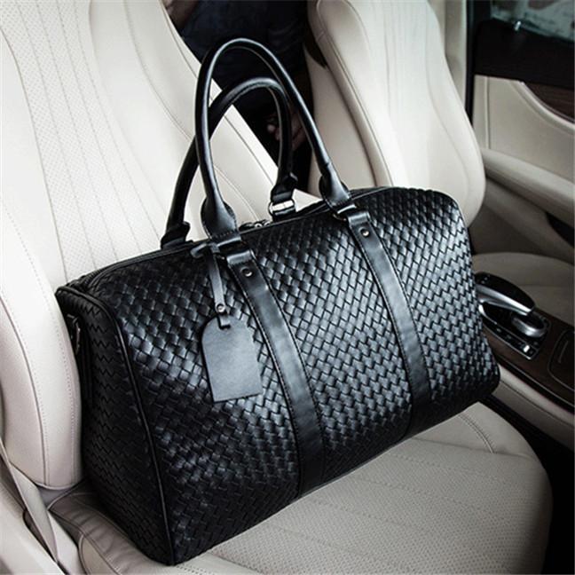 Завод оптовых бренда мужчины сумки новые ручной работы черные сумки классические сплетенный кожаные дорожные сумки на открытом воздухе путешествие фитнес кожаная сумка
