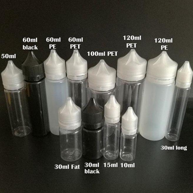 Пустые пухлые бутылки гориллы 10 мл 30 мл 60 мл 100 мл 120 мл перо Форма пластмассы пластиковая капельница с подобранными замыкающими крышками для жидкости