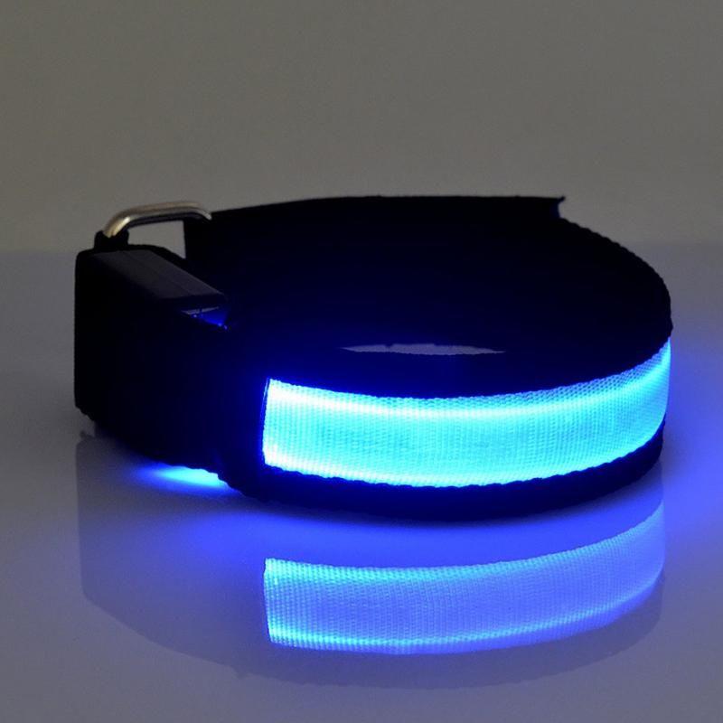 LED Bike scaldino del braccio della cinghia luminoso bracciale di sicurezza LED mette Belt Strap Snap Wrap Light Up fascia di braccio del bracciale