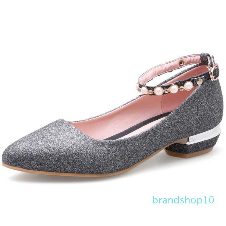 Fairy2019 Will 41-43 Rivet avec les femmes de Sharp Low Chaussures de Paillette Moraillon Simple Chaussures M8503