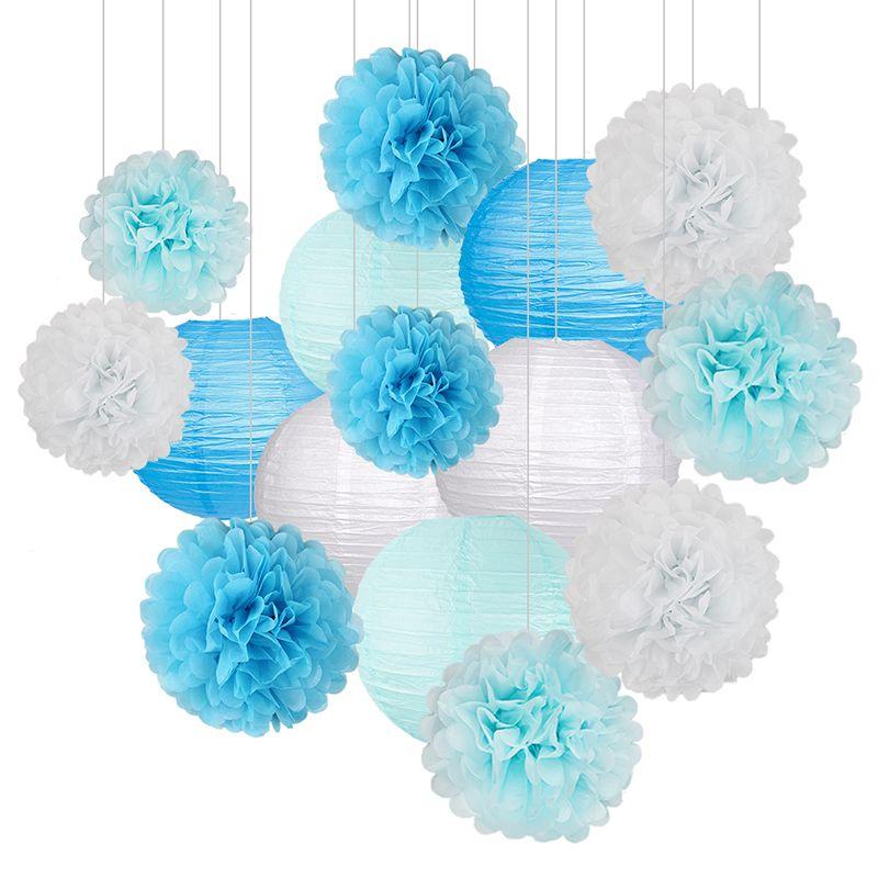 15Pcs / 설정 종이 꽃 공 리딩 종이 벌집 공 제등 생일 파티 웨딩 베이비 샤워 홈 장식 및 정원