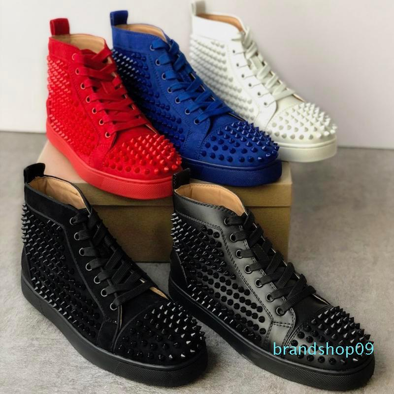 Les meilleures chaussures design clouté Spikes Red Bottom Sneakers High Top Pik Pik chaussures dopés hommes cuir blanc noir Parti chaussures plates